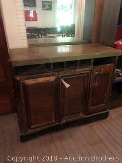 Antique Copper Top Cabinet.