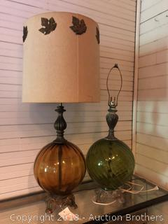 Vintage Amber/Green Glass Table Lamps