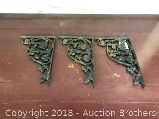 3 Cast Iron Antique Shelf Brackets