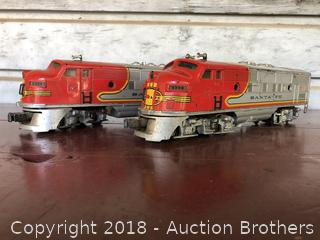 Two Lionel Santa Fe Engine's O Gauge