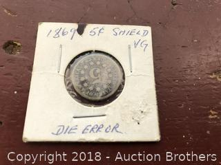 1869 Shield Nickle Die Error