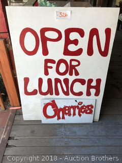Two Signs Open For Lunch And Cherries