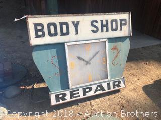 Vintage Body Shop Sign.