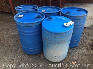 Five 30 Gallon Barrels