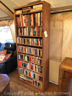 Wooden Book Shelf with Books.