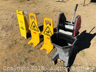 Mop Bucket and Signs