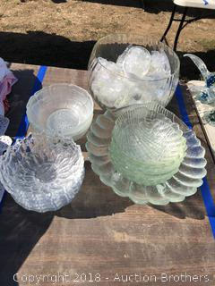 Punch Bowl and Cups, Salad Bowl and Glass Dishes