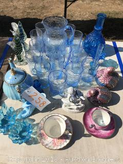 Blue Dish Set, Tea Pot and Cups, Figurines and more