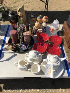 Tea Set, Wooden Kokeshi Dolls, Containers and more
