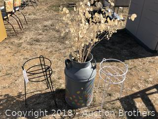 Plant Stands And Large Painted Milk Can