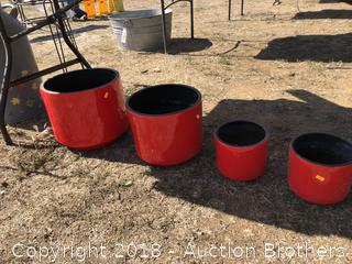 Four Nice Red Plant Pots