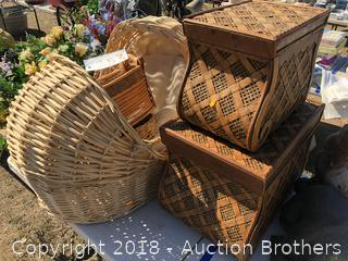 Two Rattan Baby Baskets, Two Wood Boxes and more