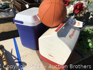 Two Ice Chests And Basketball