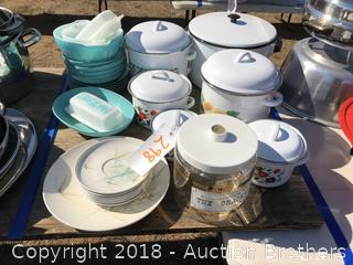 Vintage 1950's Teal Corning Ware, Enamel Ware and More