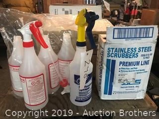New Spray Bottles, Box of Stainless Steel Scrubbers,
