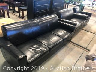 Black Couch, Love Seat And Chair