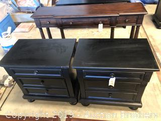 Two Black Three Drawer End Tables