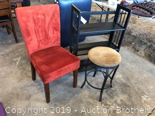 Nice Red Chair Stool And Rack
