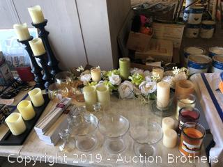Table Centerpiece and Candle lot