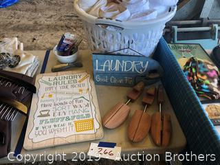 Ironing board, Towels, Laundry basket, Signs and more