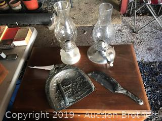 Antique Dust Pan, Handle and Two Oil Lamps