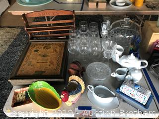 Spice racks, candy dish, wine glasses, elephant tea set, cake platter and more