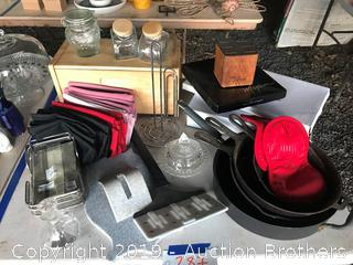 Cast Iron skillets, knife set, cast iron griddle/skillet, Napkins and holder, cutting board and more