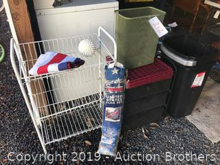 Flags, wire drawers and rack, rubbish cans