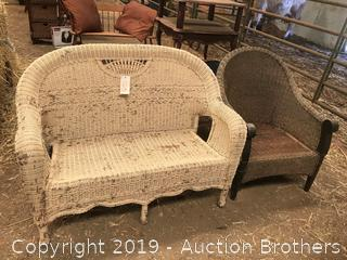 Wicker love seat and chair