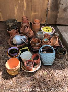Huge Lot Of Terra cotta Clay Rustic Planters