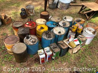 Huge Lot Of Oil Cans And more