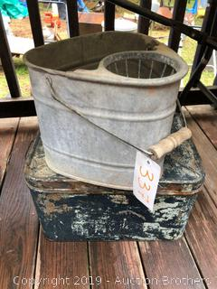 Vintage Mop Bucket And Lock Box
