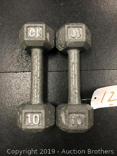 Cast iron Hex 10# dumbbells
