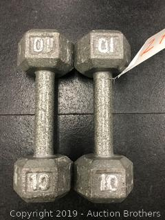 Cast iron Hex 10# dumbbells