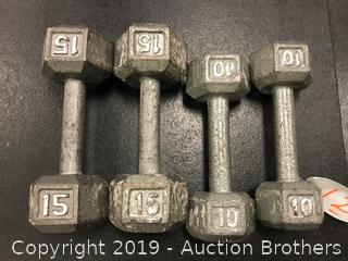 Cast iron Hex 10# dumbbells and 15# dumbbells