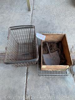 Metal Baskets, wood box, shovel head and Oakum