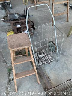 Metal Shopping Cart and Step Stool