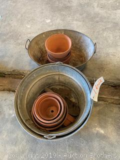 Galvanized tubs and terra cotta pots