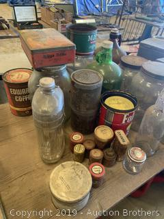 Antique Bottles and cigar boxes